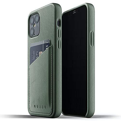"""Mujjo iPhone 12 Leder Hülle - Grün - Premium Wallet Hülle - Kompatibel mit iPhone 12 & 12 Pro - Fächer für 2-3 Karten - Extra Dünn - Stoßfeste Schutzhülle - Kabelloses Laden - 6,1"""""""