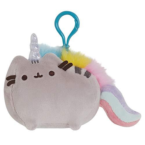 GUND Pusheenicorn Pusheen Unicorn Cat Plush Stuffed Animal Backpack Clip, Gray, 4.5'