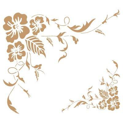 TODO-STENCIL Deco Cenefa 028 Esquina Rosas. Medidas aproximadas: Medida Exterior 20 x 20 cm Medida del diseño:14,9 x 12,9 cm Medida de la Figura 1: 11,2 x 10 cm Medida de la Figura 2: 5,6 x 5 cm