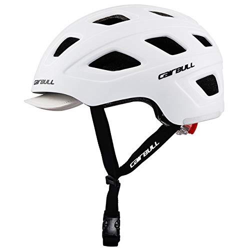 YMYGBH Adultos/Utilidad Urbana Kid cercanías del Casco de Ciclista Que compite con la Bici de Carretera Desmontable Visor/Trasera del monopatín Casco (Color : White)
