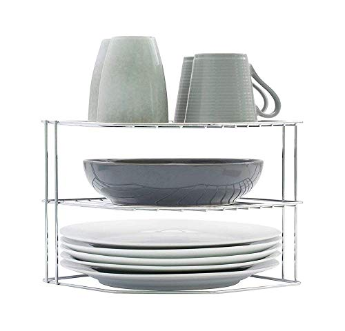 simplywire - Soporte para vajilla - Organizador de armarios de cocina - Diseño de 3 niveles - Cromado