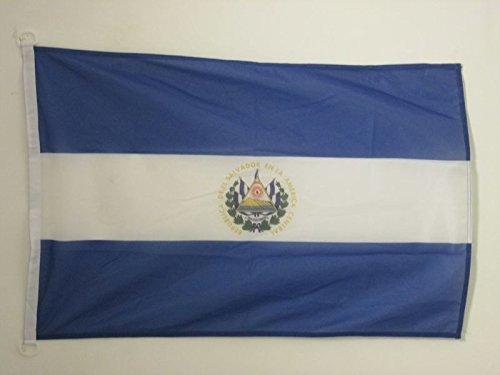 AZ FLAG Bandera de EL Salvador 90x60cm Uso Exterior - Bandera SALVADOREÑA 60 x 90 cm Anillos