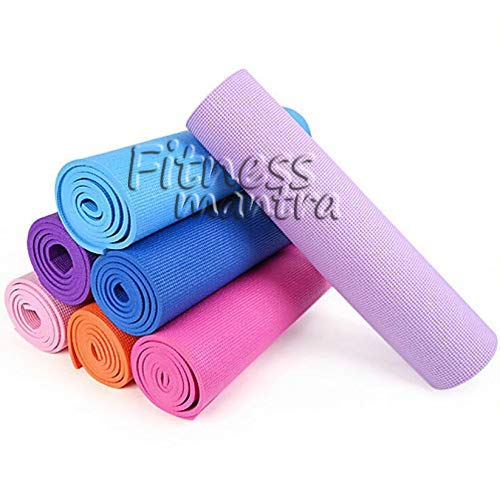 Fitness Mantra® Health & Fitness Non-Slip Yoga Mat High Density Anti-Slip, Anti-Tear Texture in Multi Color with Compact and Rubber Lightweight Material, 4 mm Thick Large Size 72 inch x 24 inch