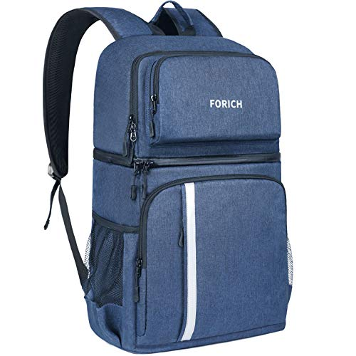 FORICH Insulated Cooler Backpack Double Deck Lightweight Leak Proof Backpack Cooler Bag Soft Lunch Backpack with Cooler Compartment for Men Women to Work Beach Travel Picnics Camping Hiking (Blue)