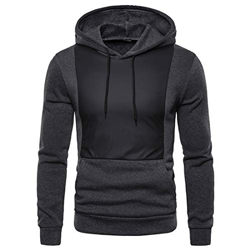 Men Hoodie Long-Sleeve Regular Fit Pullovers Spring and Autumn Casual Transition Hoodie Sport Fitness Running Sweatshirt with Pockets and Drawstring G-Dark Gray M