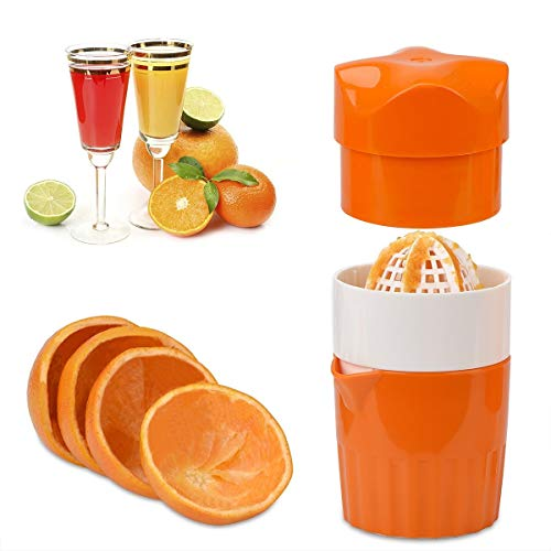 OKAYMART Citrus Juicer Lemon Squeezer, Manual Hand Juicer with Strainer and Container, for Lemon,Orange,Lime,Citrus(Orange Color)