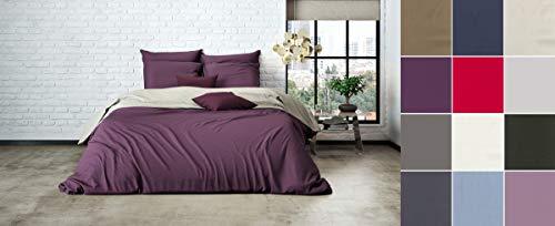 Uni Einfarbig Wende Bettwäsche Mistral Home Edel Perkal 100% Ägyptische Baumwolle, Farbe:Chateau Grey-Dark Violet, Größe:200x200cm Bettwäsche
