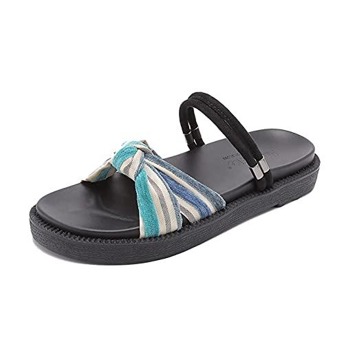Zapatillas de playa para mujer, dos ropa, deslizadores para piscina al aire libre, jardín, punta abierta, verano, ocio, arco, sandalias para el hogar para mujer, zapatos