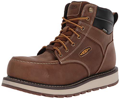 """KEEN Utility Men's Cincinnati 6"""" Composite Toe Waterproof Wedge Work Shoe, Belgian/Sandshell, 10 Wide US"""