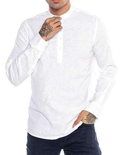 Redbridge Camisa de Lino para Hombre Suéter Casual Tunik-Straight