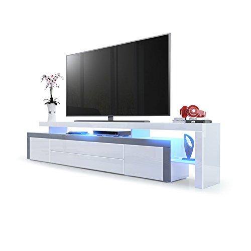 Vladon TV Board Lowboard Leon V3, Korpus und Überbau in Weiß Hochglanz/Front in Weiß Hochglanz mit Rahmen in Grau Hochglanz inkl. LED Beleuchtung