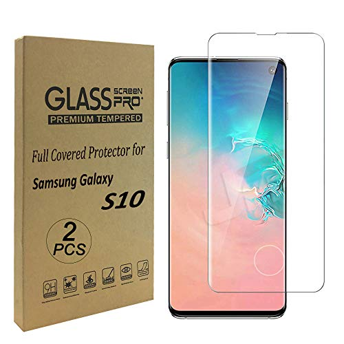 Galaxy S10 Plus/S10+ (6.4'') Clear Screen Protector, [Case Friendly][9H Hardness][ Fingerprint Unlocking][Bubble-Free] Tempered Glass Screen Protector for Samsung Galaxy S10 Plus
