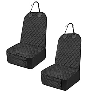 Honest 2 Pack Dog Car Seat Cover with Side Flaps,Waterproof Front Seat Cover Dog Car Seat Cover,Nonslip Scratchproof Pet Front Seat Cover for Cars, Trucks & SUVs,Black