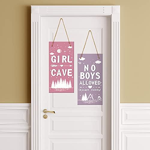 2 Pieces Little Girl Cave Sign Toddler Girl Vertical Wall Hanging Sign No Boys Allowed Wooden Sign Kids Room Door Decor for Girl Children Bedroom Nursery Hallways Decoration, 12 x 4.8 Inch
