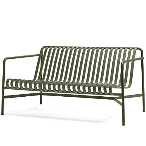 HAY Palissade Outdoor Lounge Sofa, olivgrün pulverbeschichtet BxHxT 139x70x88cm