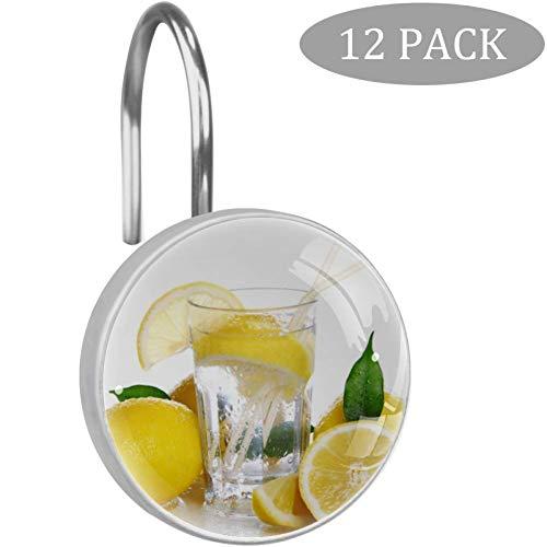 N A Cocktail mit frischen Zitronen, Duschvorhang-Haken, Kristallglas, dekoratives Badezimmer-Set