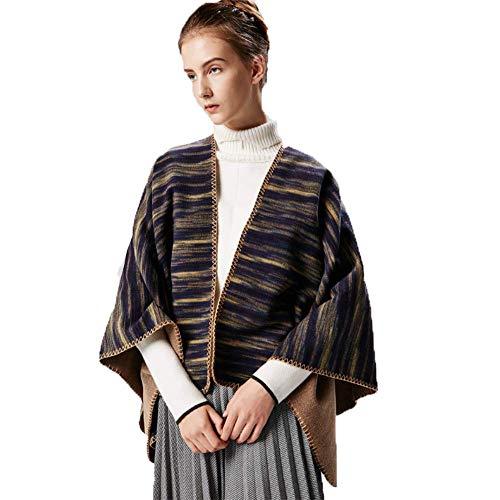 MHO Womens Fashion Sjaal Warm Omkeerbare Sjaal Wikkel Sjaal Vest Poncho Cape Open Voorzijde Elegante Kaap Wikkel Trui Jas Voor Winter