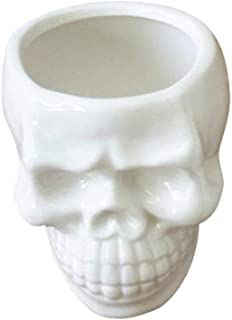 BinaryABC Halloween White Ceramic Skull Succulent Planter Pots,Skull Mini Flower Plant Pot,Halloween Home Office Desk Orna...