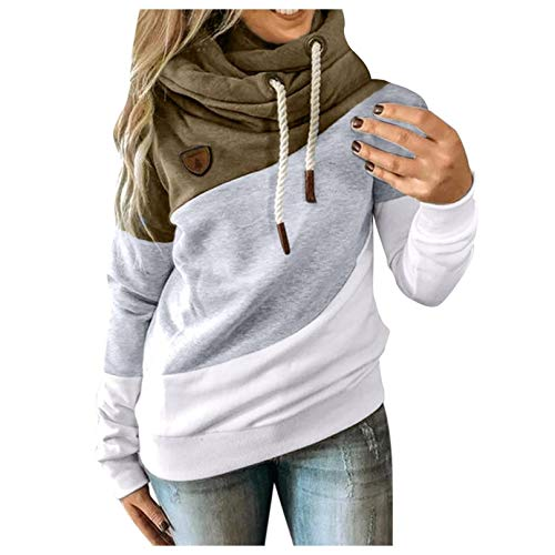 Damen Langarm Sweatshirt Pullover Casual Kapuzenpullover Lose Tunika Bluse Oversized Top Frauen Plus Size Langarm Sweatshirt Shirts Tops Latzhut Kordelzug Farbanpassung Pullover (Armeegrün, M)