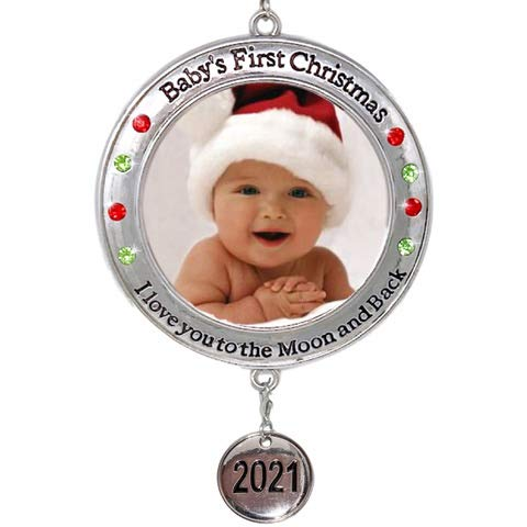 BANBERRY DESIGNS Baby's First Christmas - 2018 Photo Xmas Ornament - I Love You to the Moon and Back Picture Opening for Babies