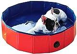 Piscina inflable, robusta bañera plegable de PVC para mascotas Bañera plegable portátil para perros Suelo de madera Piscina para perros Bañera para mascotas (Color: Color rojo, Tamaño: 120x30cm)