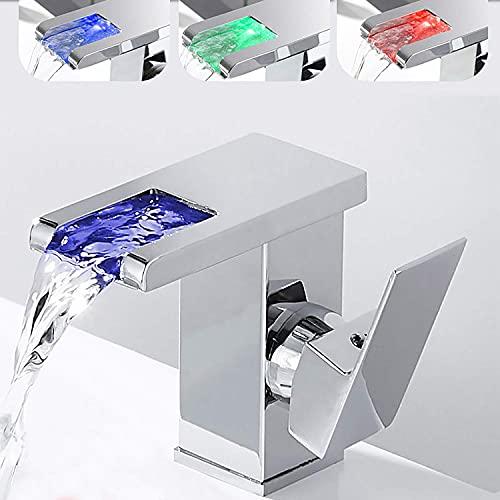 Grifo para lavabo de baño con pico en cascada con un solo orificio con sensor de temperatura que cambia con luz LED, grifo para fregadero de agua, corto
