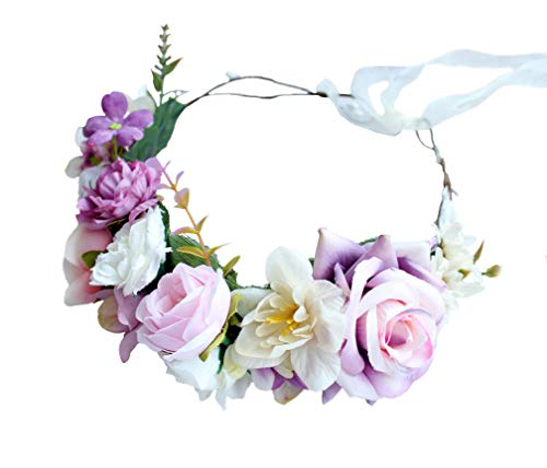 Floral Crown Wreath Boho Flower Headband Hair Wreath Hair Garland Flower Halo Floral Headpiece with Ribbon Wedding Party Festival Pink by Brikuinr