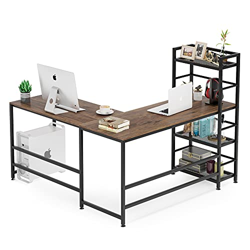Tribesigns 59 Inch L Shaped Desk with Storage Bookshelf, Reversible Corner Desk with 4 Tier Shelves for Home Office, Space-Saving L Shaped Computer Desk Writing Study Table PC Gaming Desk (Brown)
