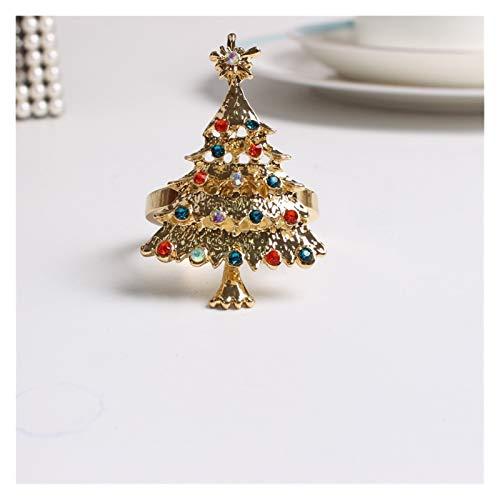 HDMJ Exquisito 6pcs Metal Navidad servilleta Navidad servilleta Anillo Banquete Banquete Hotel Suministros para decoración de Mesa de Hotel de Vacaciones (Color : A Tree)