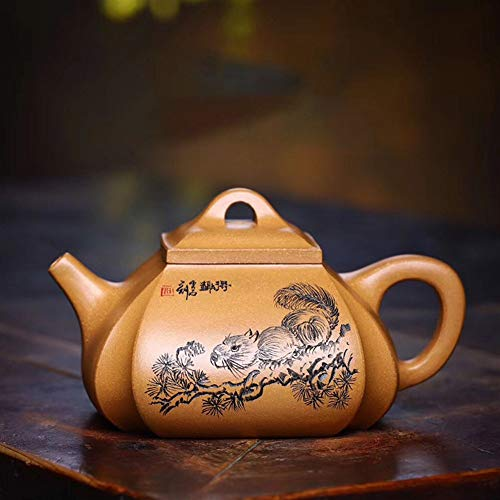 Teapot Tea Maker Pot Yixing Teapot Famous Handmade Quartet Pumping Angle Tea cup Old Section Of Mud Yixing Tea Classic Tea Set (Color : Old part mud, Size : One Size)