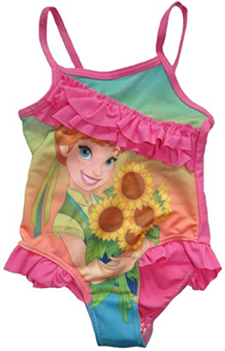 Kiddystores Mädchen Badeanzug Anna & ELSA Frozen die Eiskönigin Kinder Bademode (122/128, pink)