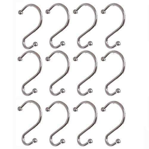 BINO Rust Proof Shower Curtain Hooks - Chrome, Set of 12 Shower Curtain Rings - Shower Hooks for Curtain Shower Rings