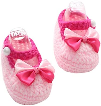 1 Pair Cute Infants Toddlers Baby Soft Crochet Knit Crib Shoes Walk Socks WQ