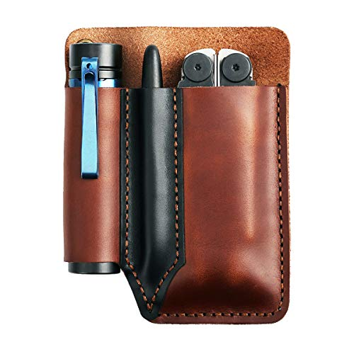 EASYANT Handmade Pocket Organizer Leather Knife Sheath Tool Pouch EDC Multitool Accessoires