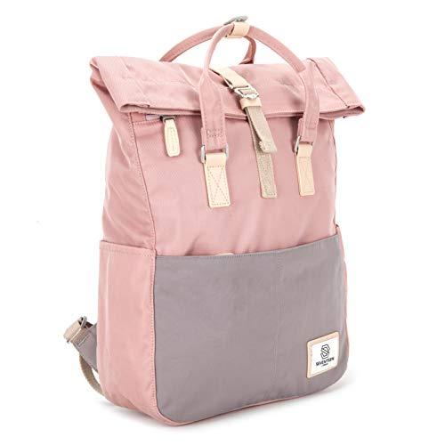 SEVENTEEN LONDON – Moderner und stilvoller 'Soho' Rucksack in rosa & grau mit einem klassischen gefalteten Roll Top Design – perfekt für 13-Zoll-Laptops