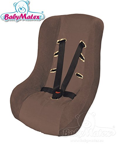 BabyMatex -- SOFT Cover Ersatzbezug -- Frühling / Sommer / Herbst -- 3 UND 5 Punkt Gurt System -- Universal Ersatz-Bezug für Autokindersitz Größe 1 z.B. für Maxi-Cosi Priori / SPS / XP, Römer King Plus / TS / Duo etc. -- BRAUN --