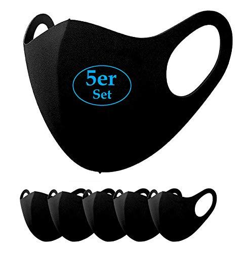 5X Unisex Gesicht Alltagsmaske elastische Ohrriemen - Stoffmaske in Einheitsgröße waschbar bis 40°C - Indoor Outdoor Mehrweg Gesichtsmaske aus Neopren ähnlichen Material (Schwarz, 5 Stück)