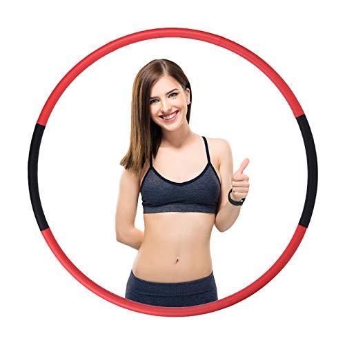 LZQpearl Hula Hoop Erwachsene/Kinder Übung, Schaum Baumwolle Shell Gewichtete Hula Ringe, Abnehmbarer Verstellbarer Schlankheitskreis, Für Fitness, Gewichtsverlust, Tanzen (Red,90cm)