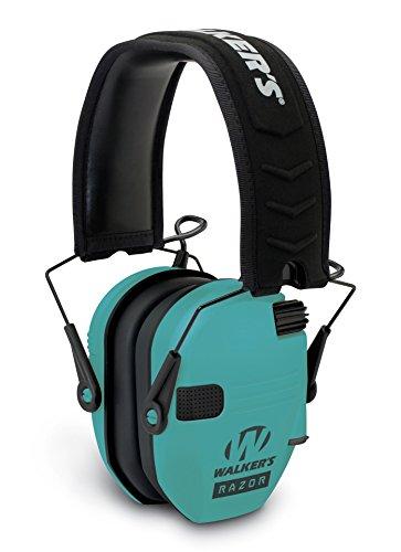 Walker's Razor Slim GWP-RSEM-LTL Electronic Muff Light Teal, 2 'AAA' Batteries