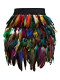 PERSUN Women's Mid Waist A-Line Short Feather Skirt for Party Supply (Large, Multi)