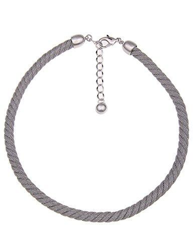 Leslii Kurze Elegante Damen-Kette Premium Quality Mesh-Kette Swirl Kurze Halskette Collier Silberne Edelstahl-Kette Länge 46cm in Silber