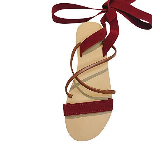 VJGOAL Moda para Mujer Tobillo Correa Cruzada Planas Sandalias Romanas Casual Punta Abierta Sandalias de Playa Gladiador Zapatos