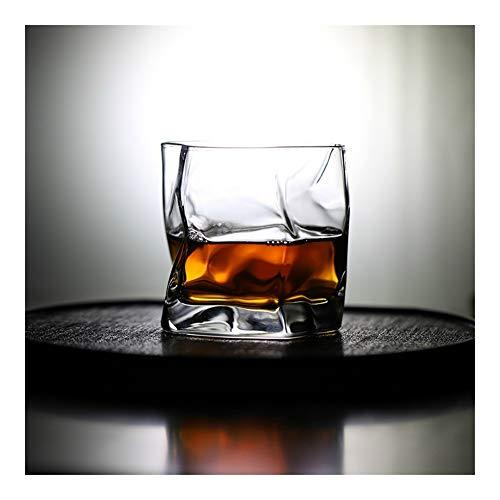 Z-Y Wijnglazen rood Onregelmatige vorm Whiskey Glass Artwork Wrinkle Whiskey Rocks Tumbler Brandy snifters Cognac Tasting Cup #Z (Capacity : 330ml, Color : 2 Pcs)