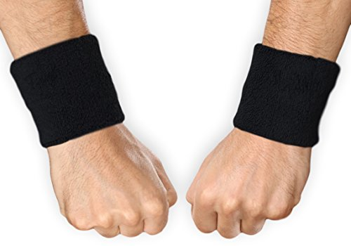 Wrist Bands - Sweat Bands Wristbands for Working Out - Soft Moisture Absorbent Cotton Terry Cloth Sweatbands for Women & Men