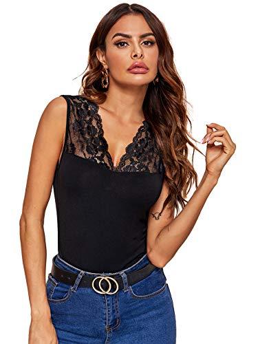 Soly Hux - Camiseta de tirantes sexy con cuello en V para mujer, de encaje, sin mangas, top alto, camisla ajustada, blusa de verano A-negro. L