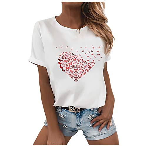 T Shirt Damen Kurzarm Oberteile Sommer locker Tunika Tops Oversize Elegant Rundhals Bunte Schmetterling Drucken Basic Shirt Pullover Blusenshirt Hemd Bluse für Frauen Teenager Mädchen große größen