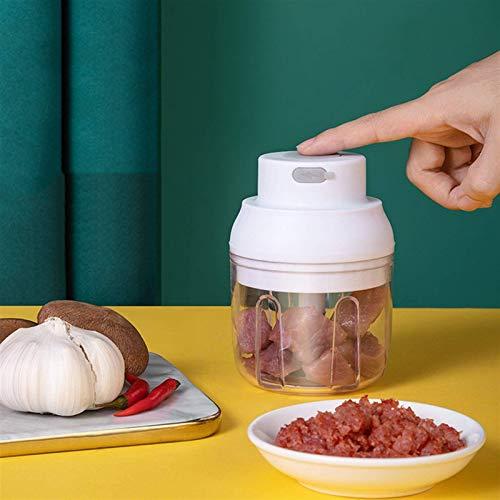 NLRHH Mini Grille de Viande, Hachoir de légumes et de Viande de capacité de 100 ML / 250 ML, Moulin à Viande Rechargeable USB (Couleur: Blanc, Taille: 250ml) Peng