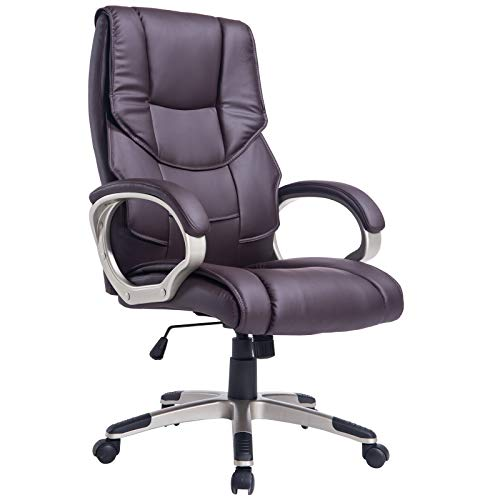 HOMCOM Computer Office Swivel Chair Desk Chair High Back PU Leather Height Adjustable w/Rocking Function (Brown)