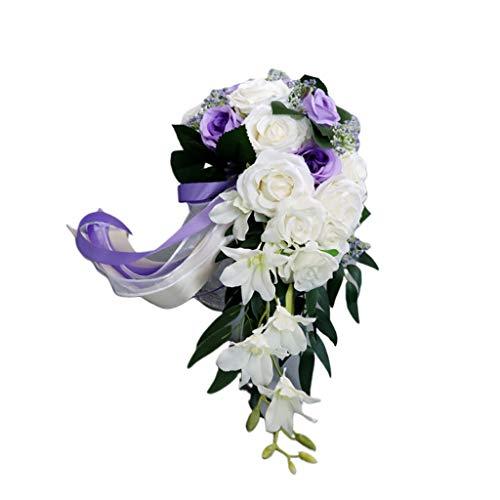 haia7k4k Romantische Hochzeit Brautstrauß Wasserfall Blumenstrauß Künstliche Rosen Blumen mit Band, D, Einheitsgröße