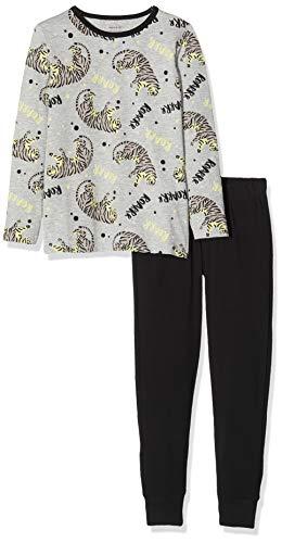 NAME IT Jungen Nkmnightset Mel AOP Glow Noos Zweiteiliger Schlafanzug, Mehrfarbig (Grey Melange Grey Melange), (Herstellergröße:146)